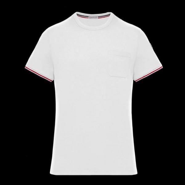 Moncler Stripe Tişört Erkek Beyaz