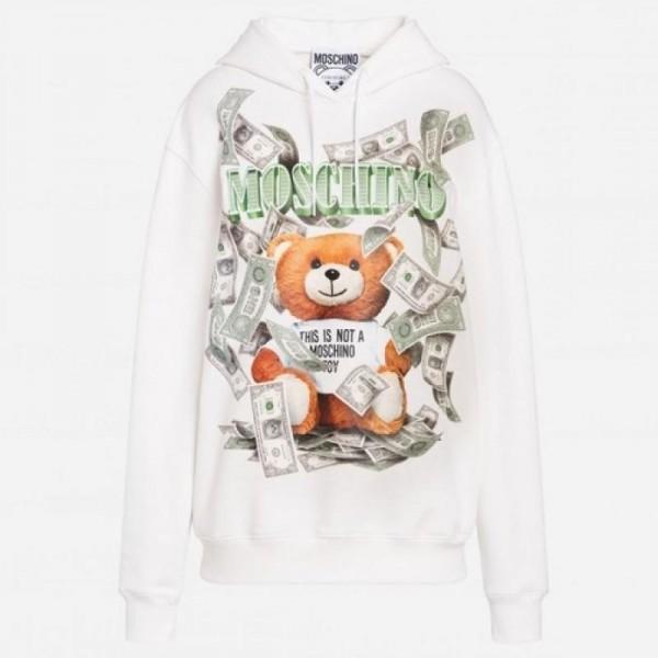 Moschino Dollar Sweatshirt Kadın Beyaz