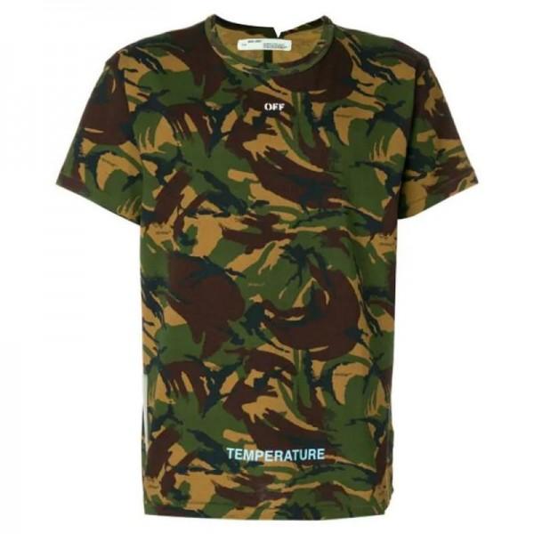 Off White Camouflage Tişört Erkek Yeşil