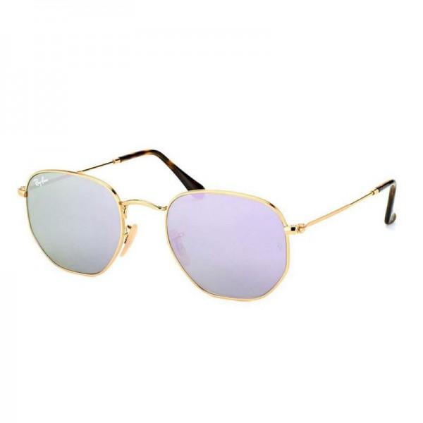 Rayban Hexagonal Gözlük Altın Mor Güneş Gözlüğü