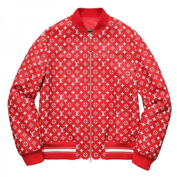 Supreme Louis Vuitton Bomber Ceket Kırmızı Erkek