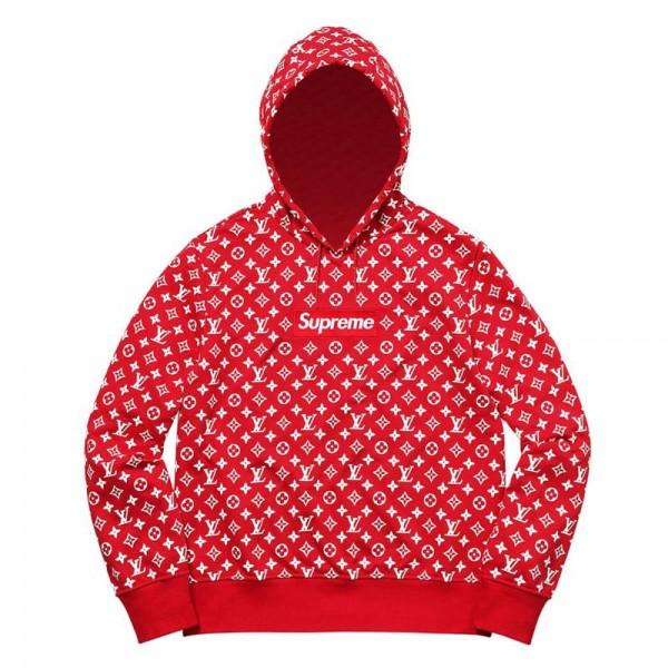 Supreme Louis Vuitton Sweatshirt Kırmızı Unisex
