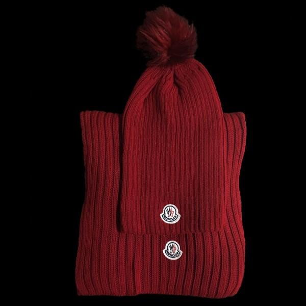 Moncler Kırmızı Ponponlu Bere & Atkı Set